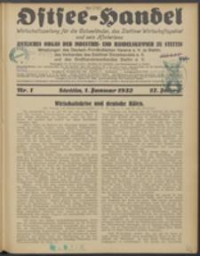Ostsee-Handel : Wirtschaftszeitschrift für der Wirtschaftsgebiet des Gaues Pommern und der Ostsee und Südostländer. Jg. 12, 1932 Nr. 1
