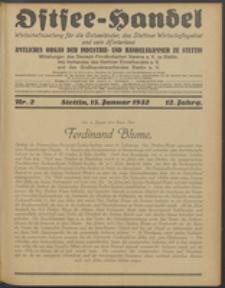 Ostsee-Handel : Wirtschaftszeitschrift für der Wirtschaftsgebiet des Gaues Pommern und der Ostsee und Südostländer. Jg. 12, 1932 Nr. 2