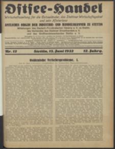 Ostsee-Handel : Wirtschaftszeitschrift für der Wirtschaftsgebiet des Gaues Pommern und der Ostsee und Südostländer. Jg. 12, 1932 Nr. 12