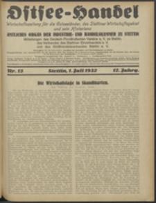 Ostsee-Handel : Wirtschaftszeitschrift für der Wirtschaftsgebiet des Gaues Pommern und der Ostsee und Südostländer. Jg. 12, 1932 Nr. 13