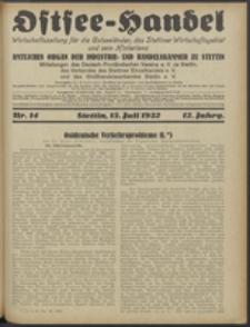Ostsee-Handel : Wirtschaftszeitschrift für der Wirtschaftsgebiet des Gaues Pommern und der Ostsee und Südostländer. Jg. 12, 1932 Nr. 14
