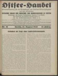 Ostsee-Handel : Wirtschaftszeitschrift für der Wirtschaftsgebiet des Gaues Pommern und der Ostsee und Südostländer. Jg. 12, 1932 Nr. 16