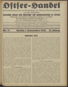 Ostsee-Handel : Wirtschaftszeitschrift für der Wirtschaftsgebiet des Gaues Pommern und der Ostsee und Südostländer. Jg. 12, 1932 Nr. 17