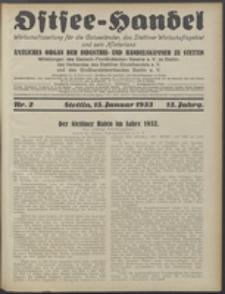 Ostsee-Handel : Wirtschaftszeitschrift für der Wirtschaftsgebiet des Gaues Pommern und der Ostsee und Südostländer. Jg. 13, 1933 Nr. 2