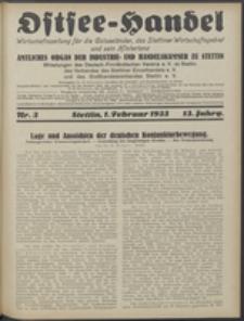 Ostsee-Handel : Wirtschaftszeitschrift für der Wirtschaftsgebiet des Gaues Pommern und der Ostsee und Südostländer. Jg. 13, 1933 Nr. 3