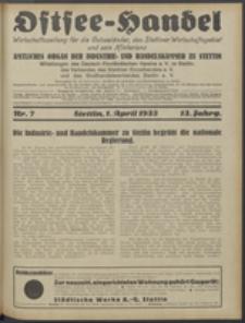 Ostsee-Handel : Wirtschaftszeitschrift für der Wirtschaftsgebiet des Gaues Pommern und der Ostsee und Südostländer. Jg. 13, 1933 Nr. 7