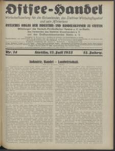Ostsee-Handel : Wirtschaftszeitschrift für der Wirtschaftsgebiet des Gaues Pommern und der Ostsee und Südostländer. Jg. 13, 1933 Nr. 14