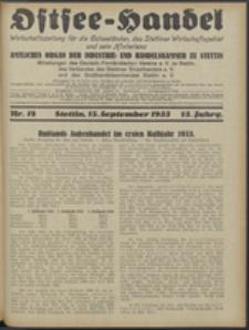 Ostsee-Handel : Wirtschaftszeitschrift für der Wirtschaftsgebiet des Gaues Pommern und der Ostsee und Südostländer. Jg. 13, 1933 Nr. 18