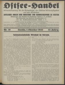 Ostsee-Handel : Wirtschaftszeitschrift für der Wirtschaftsgebiet des Gaues Pommern und der Ostsee und Südostländer. Jg. 13, 1933 Nr. 19