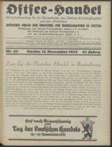 Ostsee-Handel : Wirtschaftszeitschrift für der Wirtschaftsgebiet des Gaues Pommern und der Ostsee und Südostländer. Jg. 13, 1933 Nr. 22