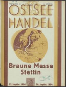 Ostsee-Handel : Wirtschaftszeitschrift für der Wirtschaftsgebiet des Gaues Pommern und der Ostsee und Südostländer Jg. 14, 1934 Nr. 18