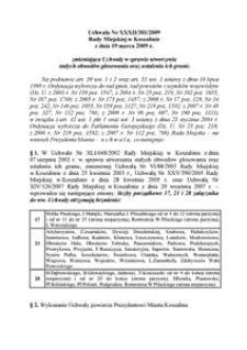 Uchwała Rady Miejskiej w Koszalinie nr XXXII/381/2009