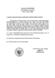 Uchwała Rady Miejskiej w Koszalinie nr XXXII/383/2009