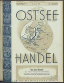 Ostsee-Handel : Wirtschaftszeitschrift für der Wirtschaftsgebiet des Gaues Pommern und der Ostsee und Südostländer. Jg. 17, 1937 Nr. 8