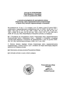 Uchwała Rady Miejskiej w Koszalinie nr XXVIII/305/2008