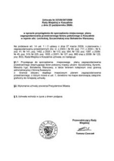 Uchwała Rady Miejskiej w Koszalinie nr XXVIII/307/2008