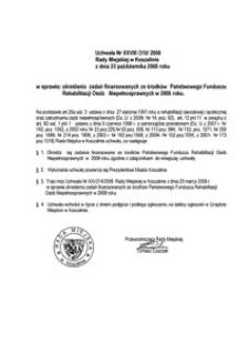 Uchwała Rady Miejskiej w Koszalinie nr XXVIII/310/2008