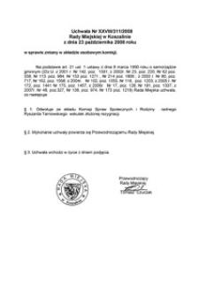 Uchwała Rady Miejskiej w Koszalinie nr XXVIII/311/2008
