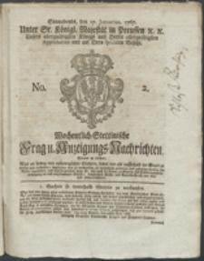 Wochentlich-Stettinische Frag- und Anzeigungs-Nachrichten. 1767 No. 2 + Anhang