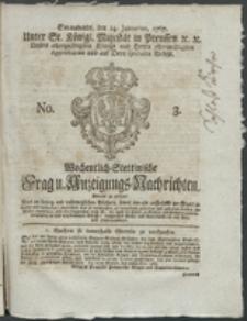 Wochentlich-Stettinische Frag- und Anzeigungs-Nachrichten. 1767 No. 3 + Anhang