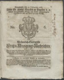 Wochentlich-Stettinische Frag- und Anzeigungs-Nachrichten. 1767 No. 6 + Anhang