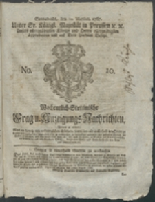 Wochentlich-Stettinische Frag- und Anzeigungs-Nachrichten. 1767 No. 10 + Anhang
