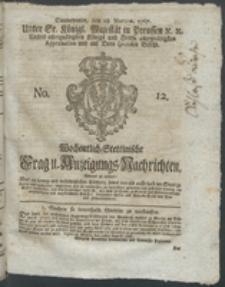 Wochentlich-Stettinische Frag- und Anzeigungs-Nachrichten. 1767 No. 12 + Anhang