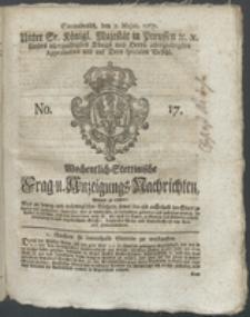 Wochentlich-Stettinische Frag- und Anzeigungs-Nachrichten. 1767 No. 17 + Anhang