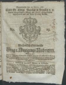 Wochentlich-Stettinische Frag- und Anzeigungs-Nachrichten. 1767 No. 23 + Anhang
