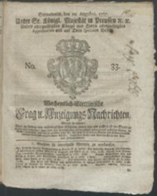 Wochentlich-Stettinische Frag- und Anzeigungs-Nachrichten. 1767 No. 33 + Anhang
