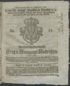 Wochentlich-Stettinische Frag- und Anzeigungs-Nachrichten. 1767 No. 34 + Anhang