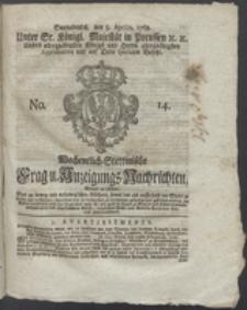 Wochentlich-Stettinische Frag- und Anzeigungs-Nachrichten. 1768 No. 14 + Anhang