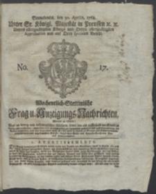 Wochentlich-Stettinische Frag- und Anzeigungs-Nachrichten. 1768 No. 17 + Anhang