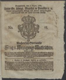 Wochentlich-Stettinische Frag- und Anzeigungs-Nachrichten. 1768 No. 18 + Anhang