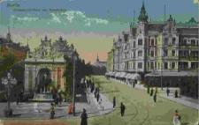 Stettin, Brunnen mit Café zum Paradeplatz