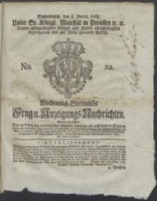 Wochentlich-Stettinische Frag- und Anzeigungs-Nachrichten. 1768 No. 22 + Anhang