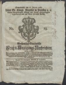 Wochentlich-Stettinische Frag- und Anzeigungs-Nachrichten. 1768 No. 23 + Anhang