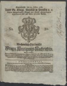 Wochentlich-Stettinische Frag- und Anzeigungs-Nachrichten. 1768 No. 30 + Anhang