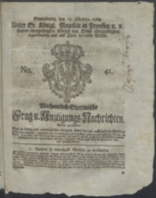 Wochentlich-Stettinische Frag- und Anzeigungs-Nachrichten. 1768 No. 41 + Anhang