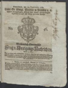 Wochentlich-Stettinische Frag- und Anzeigungs-Nachrichten. 1768 No. 46 + Anhang