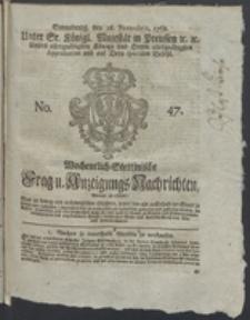 Wochentlich-Stettinische Frag- und Anzeigungs-Nachrichten. 1768 No. 47 + Anhang