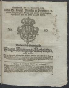 Wochentlich-Stettinische Frag- und Anzeigungs-Nachrichten. 1768 No. 49 + Anhang