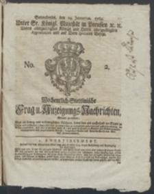 Wochentlich-Stettinische Frag- und Anzeigungs-Nachrichten. 1769 No. 2 + Anhang