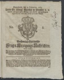 Wochentlich-Stettinische Frag- und Anzeigungs-Nachrichten. 1769 No. 5 + Anhang