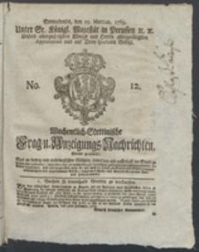 Wochentlich-Stettinische Frag- und Anzeigungs-Nachrichten. 1769 No. 12 + Anhang