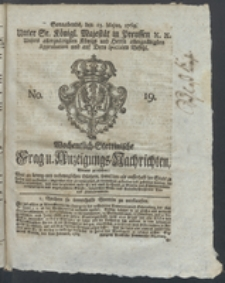 Wochentlich-Stettinische Frag- und Anzeigungs-Nachrichten. 1769 No. 19 + Anhang