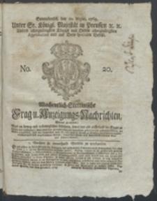 Wochentlich-Stettinische Frag- und Anzeigungs-Nachrichten. 1769 No. 20 + Anhang