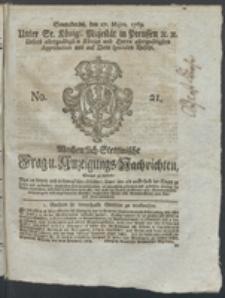 Wochentlich-Stettinische Frag- und Anzeigungs-Nachrichten. 1769 No. 21 + Anhang