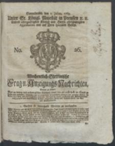Wochentlich-Stettinische Frag- und Anzeigungs-Nachrichten. 1769 No. 26 + Anhang