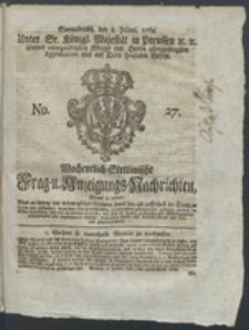 Wochentlich-Stettinische Frag- und Anzeigungs-Nachrichten. 1769 No. 27 + Anhang